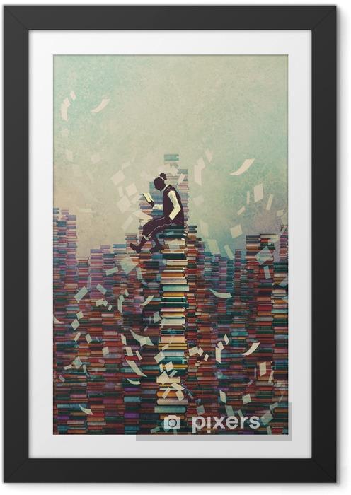 Póster com Moldura Homem lendo o livro ao sentar-se na pilha dos livros, conceito conhecimento, pintura ilustração - Hobbies e Lazer