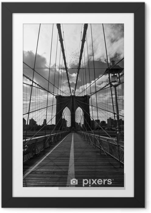Plakat w ramie Pont de Brooklyn Noir et Blanc - Nowy Jork - Style