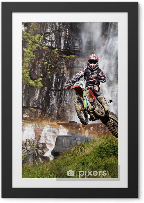 Plakat w ramie Motocross z wodospadem - Sporty ekstremalne