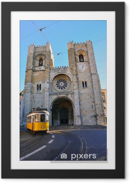 Plakat w ramie Lizbona tramwaj w Se Cathedral - Miasta europejskie