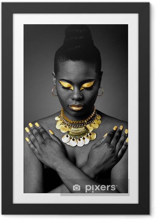 Póster Enmarcado Tribal africano en oro - Belleza y cuidado personal