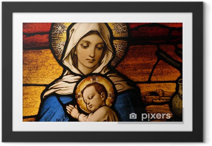 Plakat w ramie Witraż przedstawiający Marię Dziewicę posiadania dziecka Jezusa - Święta Rodzina