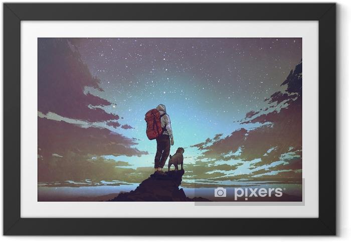 Ingelijste Poster Jonge wandelaar met rugzak en een hond staande op de rots en kijken naar sterren in de nachtelijke hemel, digitale kunststijl, illustratie schilderij - Hobby's en Vrije tijd