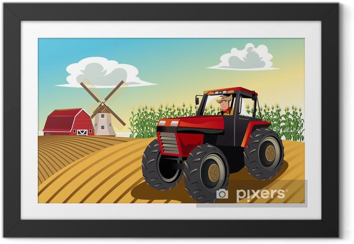 Ingelijste Poster Boer rijdt op een tractor - Thema's
