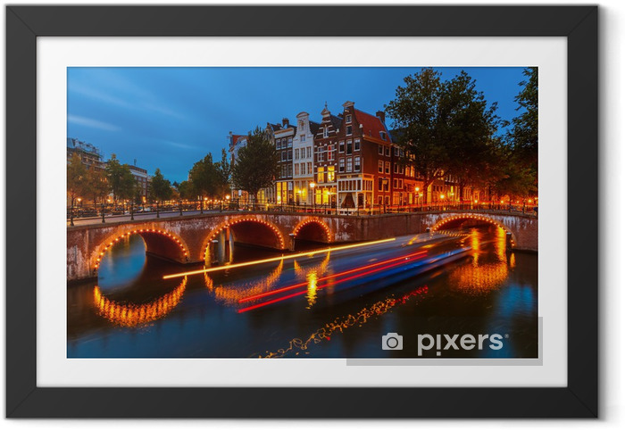Kanaler i amsterdam Indrammet plakat -