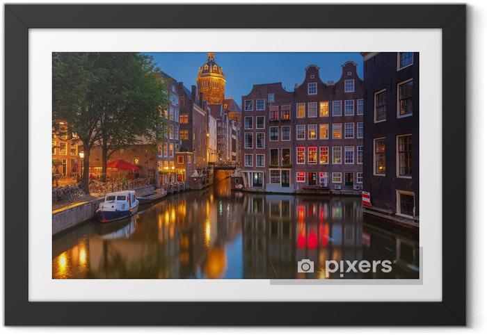 Ingelijste Poster Amsterdam bij nacht - Thema's