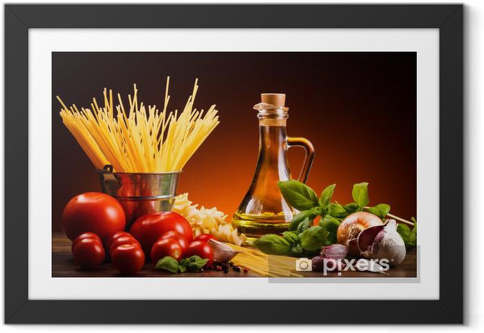 Ingelijste Poster Pasta en verse groenten - Thema's