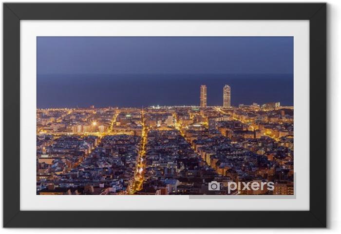Póster Enmarcado De Barcelona skyline panorama de la noche - Temas