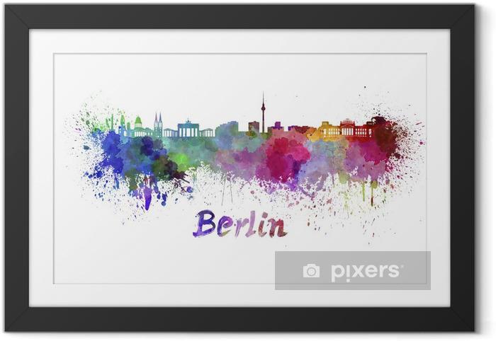 Poster en cadre Horizon de Berlin à l'aquarelle - Sticker mural