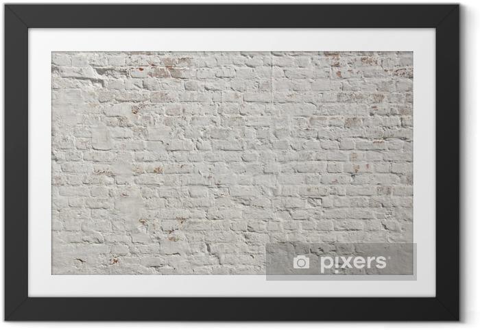 Póster Enmarcado Blanco grunge ladrillo la pared de fondo - Estilos
