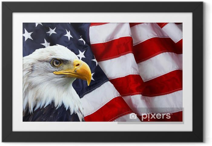 Poster i Ram North American Skallig örn på amerikanska flaggan - Bakgrunder