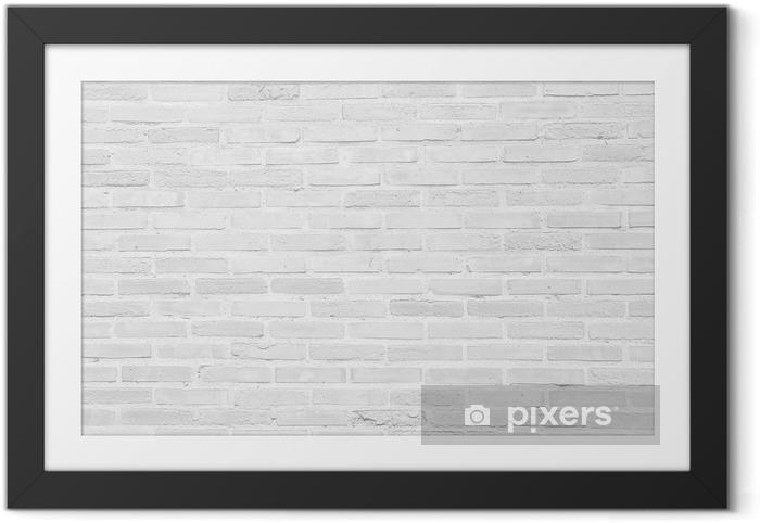 Plakat w ramie Białe tekstury grunge ceglany mur w tle - Tematy