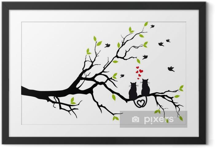 Plakat w ramie Kotów w miłości na gałęzi drzewa, wektor - Przeznaczenia