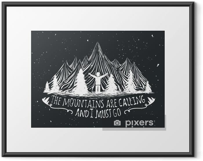 Plakat w ramie Wektor pustyni cytat plakatu z sylwetką człowieka, gór i lasów - Krajobrazy