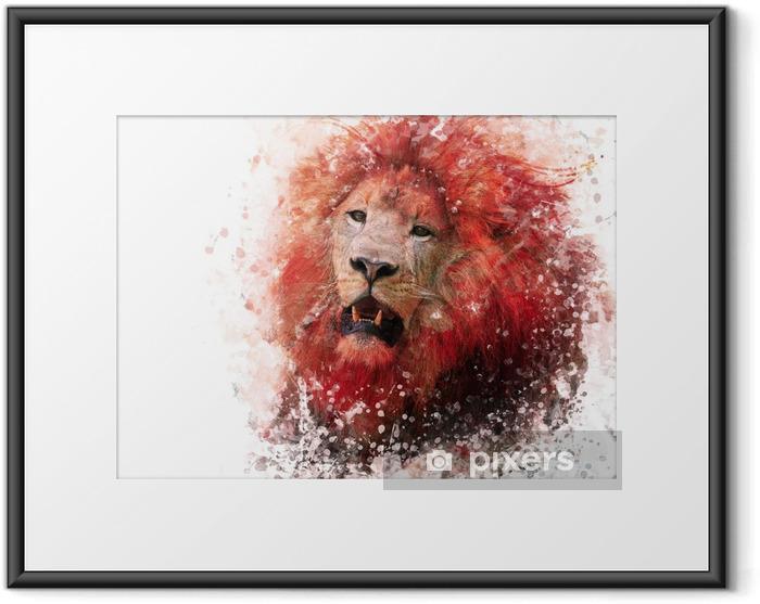 Ingelijste Poster Hoofd van de leeuw aquarel - Dieren