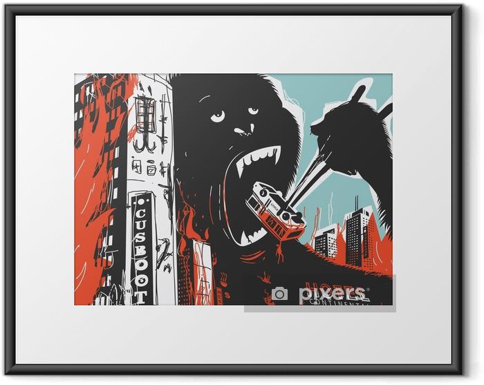 Plakat w ramie Big Gorilla niszczy miasto - Zwierzęta