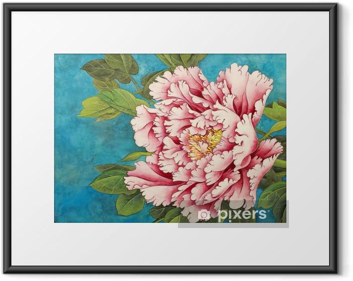 Gerahmtes Poster Rosa Pfingstrose auf einem blauen Hintergrund - Pflanzen und Blumen