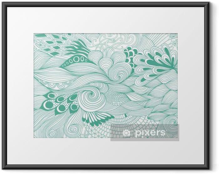 Plakat w ramie Jednolite abstrakcyjny wzór tła z kolorowym ornamentem. Rysowania ilustracja, kolorowanka zentangle - Rośliny i kwiaty