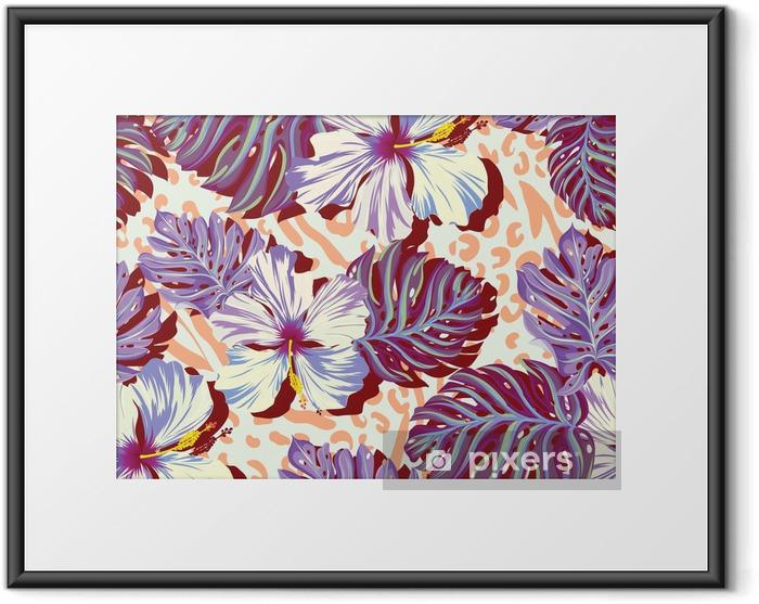 Ingelijste Poster Naadloze vector patroon voor mannen, aloha bloemen in gedempte kleuren. - Levensstijl
