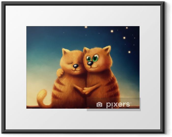 Plakát v rámu Červené kočky v lásce - Zvířata