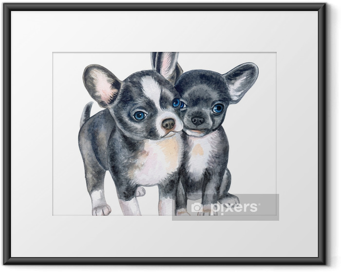 Cute chihuahua puppies isolated on white background. Black puppy on a white background. Watercolor. Illustration. Template. Handmade Framed Poster - Animals