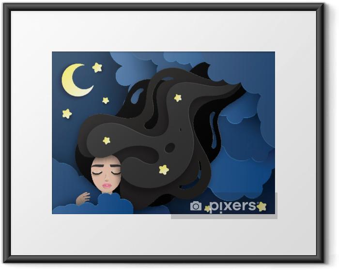 Plakat w ramie Wektorowa portret śpiący młoda piękna kobieta z długim falistym włosy. puszyste chmury papierowe, księżyc i gwiazdy. koncepcja słodkich snów. nowoczesna papierowa sztuka cyfrowa. styl origami. - Ludzie