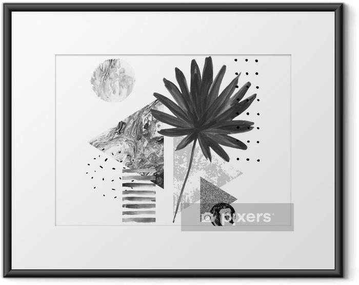 Póster Enmarcado Formas geométricas abstractas de verano, composición de hojas exóticas - Recursos gráficos