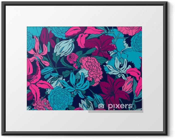 Ingelijste Poster Naadloze patroon met lilium, ylang, rozen, anjer bloemen. kleurrijke vectorillustratie. afdrukken voor thuis textiel en kleding, stof, textiel - Grafische Bronnen