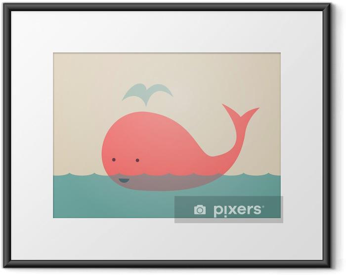 Gerahmtes Poster Nette Whale - Themen