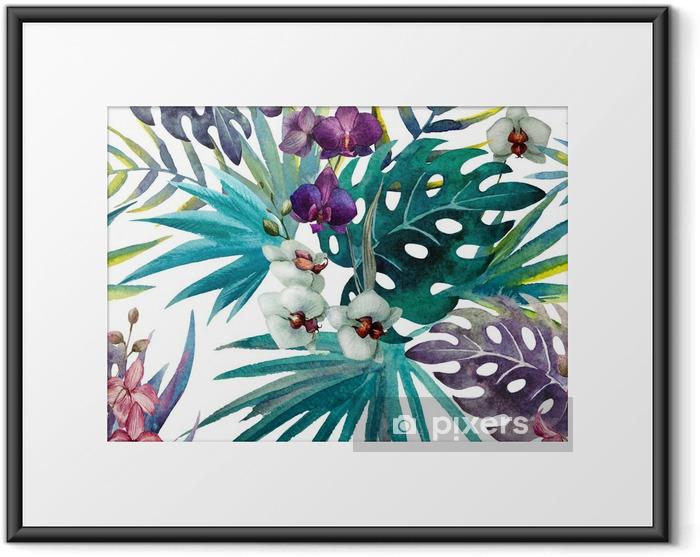 Poster en cadre Modèle de feuilles d'hibiscus orchidée, aquarelle - iStaging