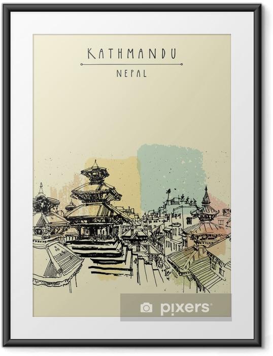 Ingelijste Poster Durbar plein. Hindoetempels in Basantapur, Kathmandu, Nepal, vóór de aardbeving. Travel schets. Hand tekenen. Vintage toeristische postkaart, poster, boek illustratie in vector - Gebouwen en Architectuur