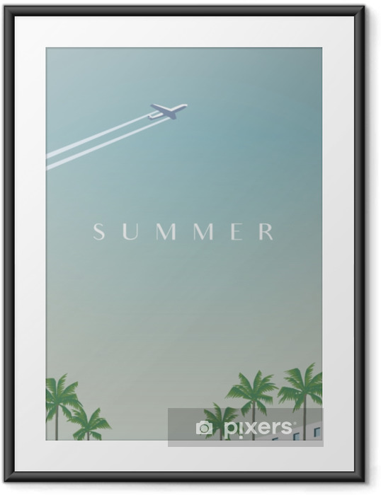 Ingelijste Poster Zomer reizen vector poster sjabloon met vliegtuig vliegt over palmbomen. - Transport