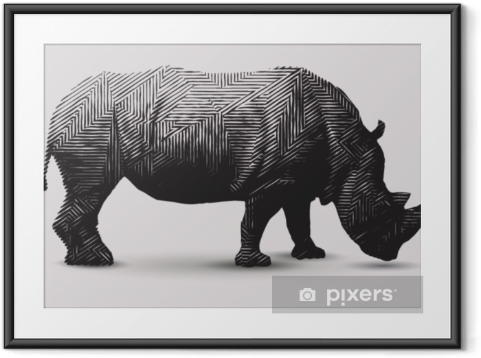 Vector rhinoceros illustration. Polygon shaped line- art. Framed Poster - Graphic Resources