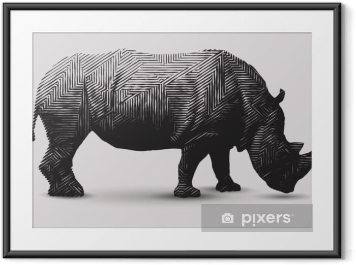 Innrammet plakat Vektor rhinoceros illustration. polygonformet linje-kunst. - Grafiske Ressurser