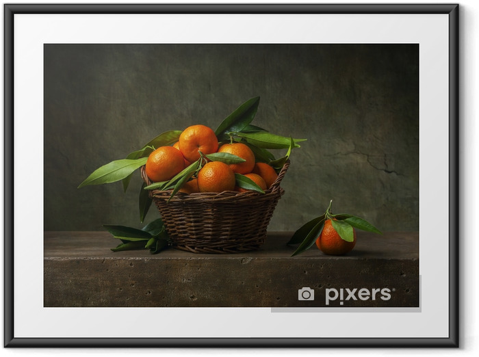 Still life with tangerines in a basket on the table Framed Poster - Hobbies and Leisure