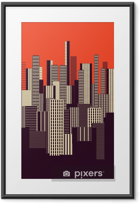Gerahmtes Poster Ein drei Farben grafische abstrakte städtische Landschaft Plakat in orange und braun - Landschaften