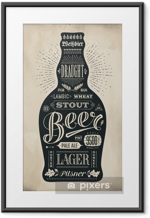 Plakat w ramie Plakat butelka piwa z napisem wyciągnąć rękę - Napoje