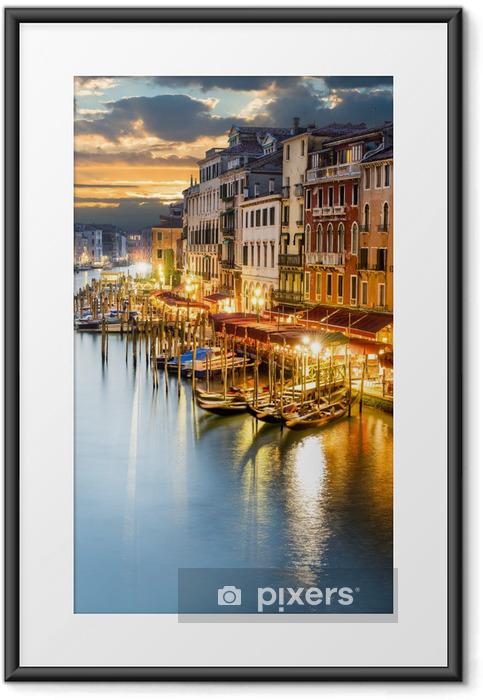 Poster en cadre Le Grand Canal à Venise de nuit -