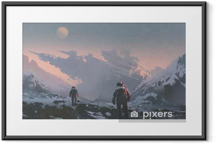 Plakat w ramie Sci-fi pojęcie astronautów chodzących do opuszczenia statku kosmicznego na obcej planecie, ilustracja malarstwo - Hobby i rozrywka