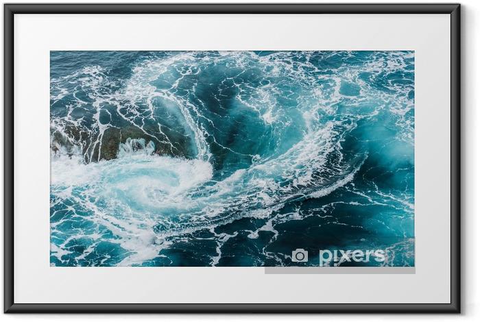 Poster i Ram Vertiginous, virvlande skummande vågvågor vid havet fotograferade ovanifrån - Landskap