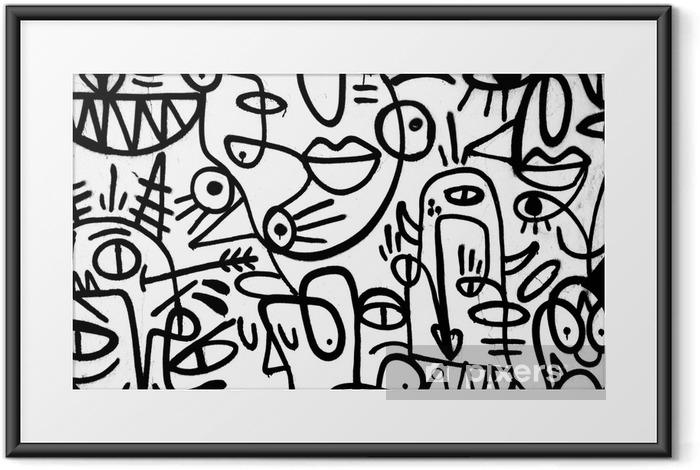 Ingelijste Poster Zwart-wit patroon graffiti op de wall.spain, jerez, januari 2018.interessante achtergrond - Grafische Bronnen