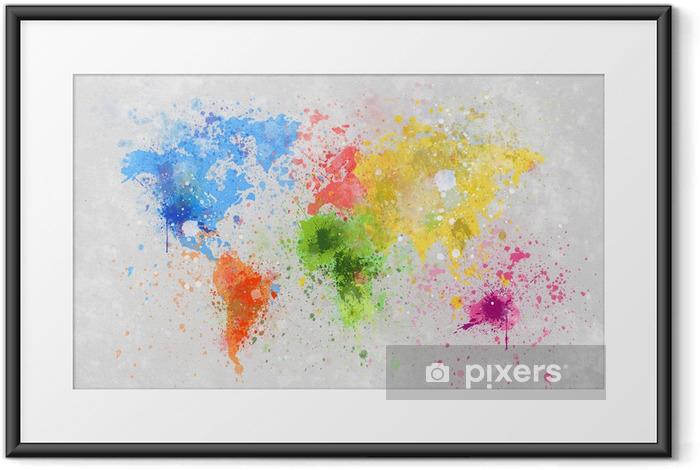 Póster com Moldura world map painting -