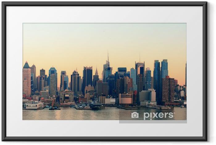 Poster en cadre New York City coucher du soleil - Thèmes