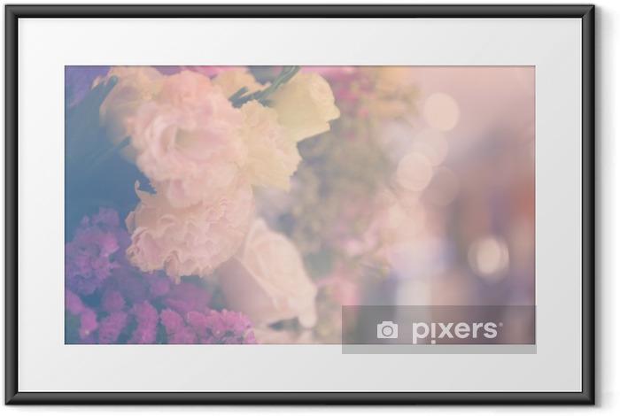 Ingelijste Poster Vintage carnetion en rose boeket bloemen zachte achtergrond - Bloemen en Planten