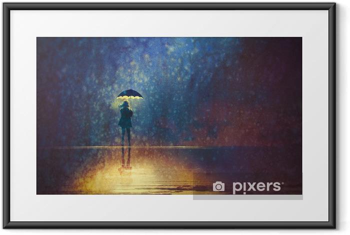 Poster en cadre Femme solitaire sous les lumières de parapluie dans la, peinture numérique sombre - Passe-temps et loisirs