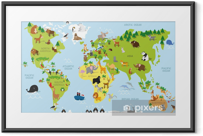 Plakat w ramie Cartoon Zabawna mapa świata z tradycyjnych zwierząt ze wszystkich kontynentów i oceanów. ilustracji wektorowych dla edukacji dzieci w wieku przedszkolnym i projektowania - PI-31