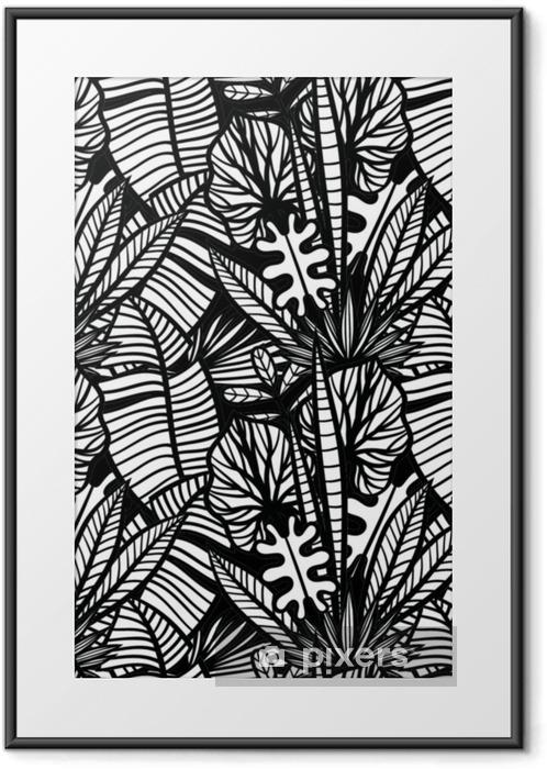 Plakat w ramie Czarno-biały tropikalny wzór z egzotycznymi roślinami. bezszwowe wektor tropikalny wzór z liści. - Rośliny i kwiaty
