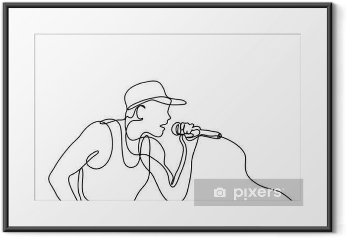 Póster com Moldura Desenho de linha contínua do cantor com microfone - Hobbies e Lazer