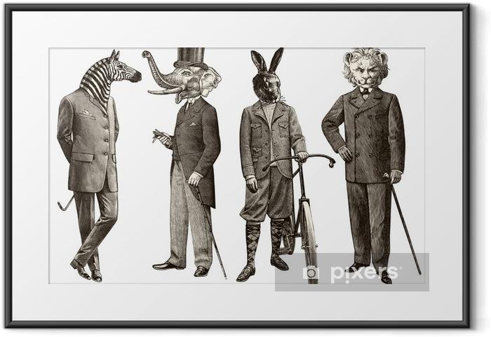 Plakat w ramie 4 zwierzęta mężczyzn - Mężczyźni