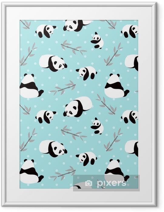 Plakat w ramie Tło wektor niedźwiedź panda. wzór z kreskówki panda. - Zwierzęta